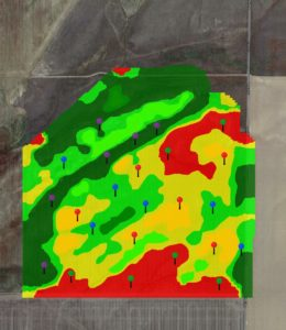 Actual yield map used to locate grid sampling locations.
